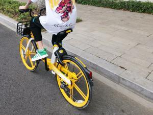 骑共享单车的年轻人