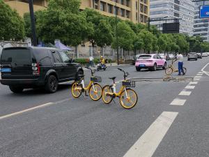 共享单车挡道拦路,路虎保时捷绕道
